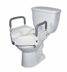 Drive Medical 2-in-1 Locking Elevated Toilet Seat with Armrests