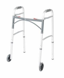 """Drive Universal Deluxe Folding Walker, Two Button with 5"""" Wheels"""
