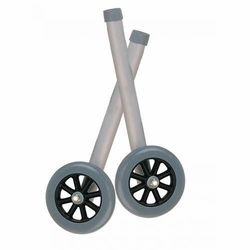 Drive Universal Walker Wheels With Rear Glide Caps (Silver)