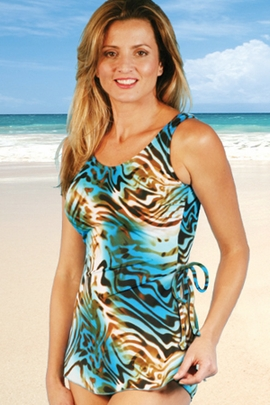 Jodee Animal Print Soft Cup Mastectomy Sarong Swimsuit (Style 2093)