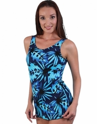 Jodee Blue Maze Soft Cup Pocketed Sarong Swimsuit, Women's (Style 2060)