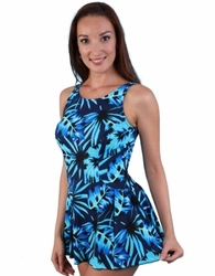 Jodee Blue Maze Soft Cup Pocketed Swim Dress, Misses (Style 2069)