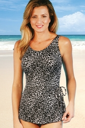 Jodee Cracked Crystal Soft Cup Pocketed Sarong Swimsuit (Style 2087)