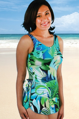 Jodee Floral Green Soft Cup Pocketed Sarong Swimsuit (Style 2091)