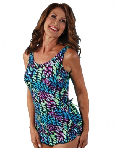 Jodee Mint Julep Soft Cup Pocketed Sarong Swimsuit, Misses (Style 2063)