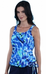Jodee Oceanic Blue Pocketed Blouson Top, Misses (Style 3022)