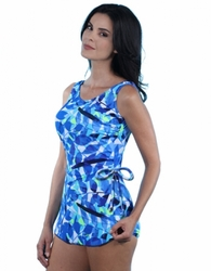 Jodee Oceanic Blue Soft Cup Pocketed Sarong Swimsuit (Style 3030)