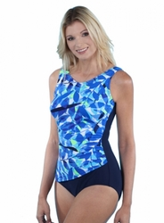 Jodee Oceanic Blue Soft Cup Pocketed Tank Swimsuit (Style 3017)
