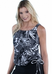 Jodee Tropical Print Pocketed Blouson Top, Women's (Style 3025)