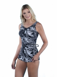 Jodee Tropical Print Soft Cup Pocketed Sarong Swimsuit (Style 3032)