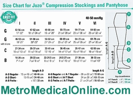 Juzo Size Chart for 40-50 mmHg Compression