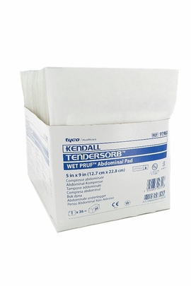 """Kendall TENDERSORB WET-PRUF Abdominal Pads Sterile (5"""" x 9"""") (Box of 36)"""