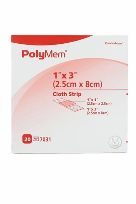"PolyMem Cloth Strip Dressing (1""x 3"") (Box of 20)"