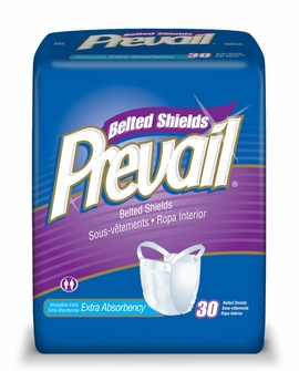 Prevail Extra Absorbency Belted Shields (Case of 4 Bags)