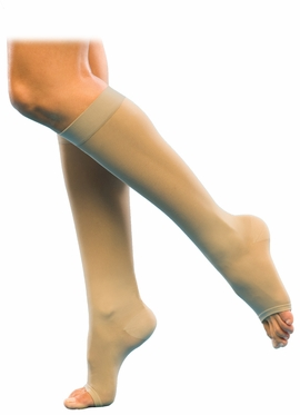 Sigvaris 770 Truly Transparent Sheer Knee High Stockings, Open Toe (30-40mmHg)