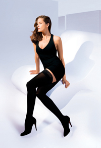 Sigvaris 840 Soft Opaque Thigh High with Grip-Top Stockings (Open Toe) (30-40mmHg)