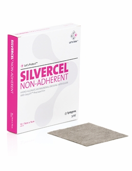 "Silvercel Non-Adherent Antimicrobial Alginate Dressing with Easy Lift (2"" x 2"")(by the Box of 10)"