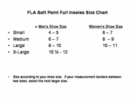 Size Chart for FLA Soft Point Silicone Full Insoles