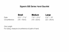 Sizing Chart for Sigvaris 500 Series Hand Gauntlet