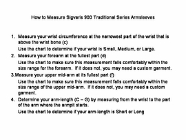 Sizing Chart for Sigvaris 900 Armsleeves