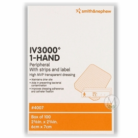 "Smith & Nephew IV3000 1-Hand Catheter Dressing (2 3/8""x2 3/4"") (by the Each)"