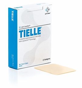 "Tielle Hydropolymer Adhesive Dressing with LiquaLock (4 1/4"" x 4 1/4"")(by the each)"