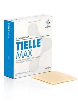 """Tielle Max Hydropolymer Adhesive Dressing with LiquaLock (4 1/4"""" x 4 1/4"""")(by the Box of 10)"""