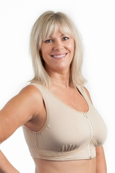 Wear Ease Grace Front Zipper Pocketed Bra, 2 Drain Pouches, Style 741