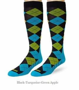 Zensah Argyle Knee High Compression Running Socks