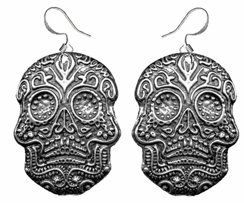 "Dia de los Muertos ""Day of the Dead"" Pewter Earrings ONLY 1"