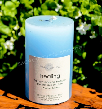 Healing - Gemstone Pillar Candle