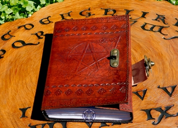 Pentacle + Besom ~ Leather Book of Shadows by Sabrina the Ink Witch