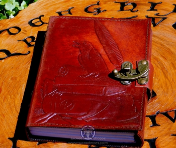 Studious Raven ~ Leather Book of Shadows by Sabrina the Ink Witch