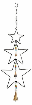 Triple Star Wrought Iron Wind Chime