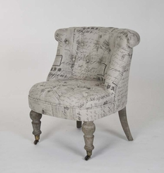 Amelie Slipper Chair (French Script Fabric)