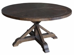 "Auben Round Dining Table-59""-Weathered Um"