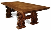 Dining Table Nepal, Hand Carved, Rustic Brown