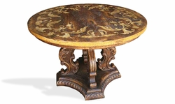 Dining Table Round, Romana Brown and Cream