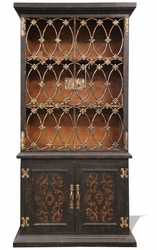 French Black Bookcase with Wrought Iron