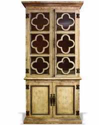 Hand Painted Bookcase with Clovers Hand Carved