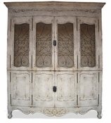 Hand Painted French Cabinet with Wrought Iron