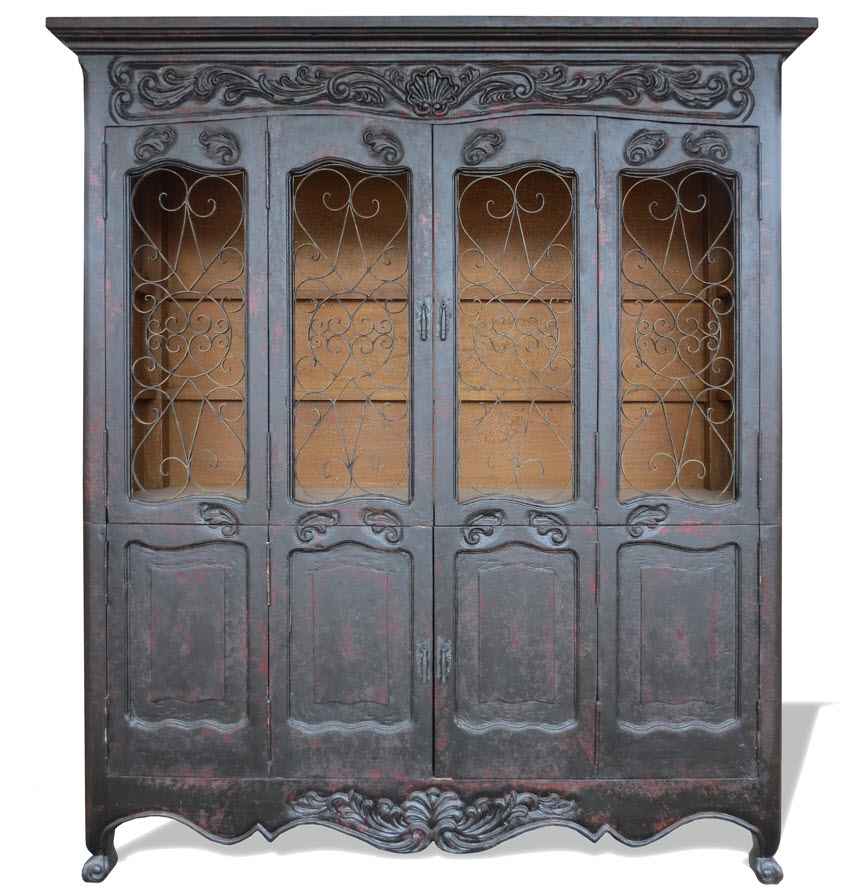 KOENIG HAND PAINTED FRENCH COUNTRY CABINET DISTRESSED
