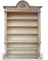 Hand Painted Old World Bookcase with Gold Leaf, Hand Carved