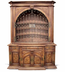 Hand Painted Wine Cabinet with Wrought Iron