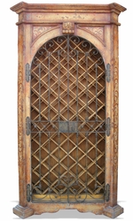 Hand Painted Wine Cabinet, Wrought Iron