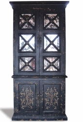 Old World Weathered Mirror Bookcase, French Black
