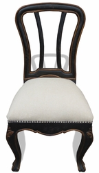 Traditional French Upholstered Side Dining Chair (one pair)
