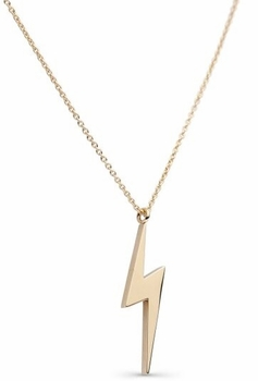 14K Shiny Gold Plated Lightening Bolt Necklace