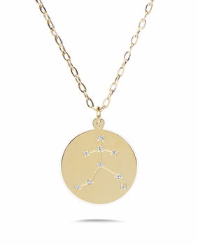 14k Shiny Gold Plated with CZ Stones Zodiac Sign Necklace