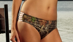 Mossy Oak Camo Swim Bottoms with Pink Straps